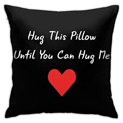 Alefdolf Hug This Pillow Until You Can Hug Me ColorfulDecorativePillowCaseHomeDecorSquare18X18InchesPillowcase