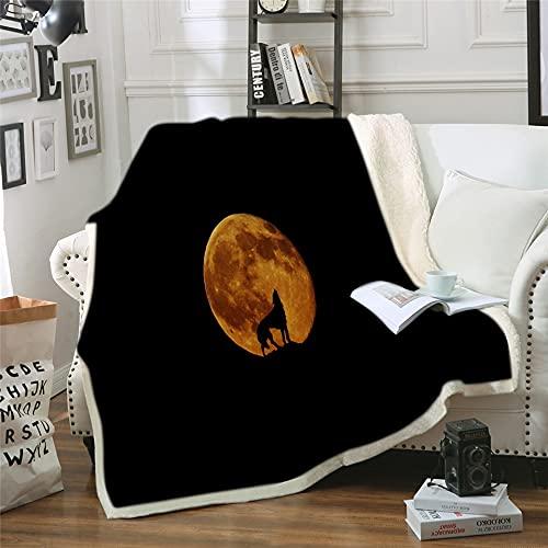 NBVGHJ Manta De Lobo Personalizada con Estampado De Doble Terciopelo para El Hogar, Manta De Sofá para Camas, Manta De Lana para Acampar, Edredón 150×130CM