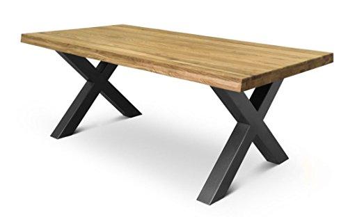 COMIFORT Mesa de Comedor - Mueble para Salon Oficina Despacho Robusto y Moderno de Roble Macizo Color Ahumado con Lado Ondulado, Patas de Acero X-Forma Grafito (180x100 cm)