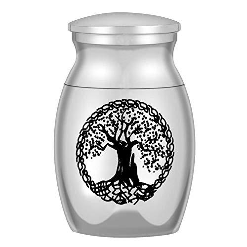 Chutoral Memorial Mini Asche Flasche Urne in Glas Mini Andenken Urne für Mensch Tier Andenken Halter für Asche Legierung Asche Halter(Silver-Style2)