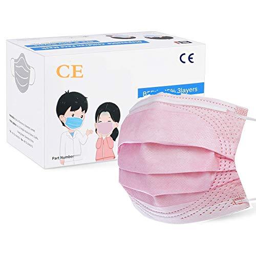 MaNMaNing Protección 3 Capas Transpirables con Elástico para Los Oídos Pack 50 unidades 20200723-MANING-NM50 (50, Rosa,adulto)