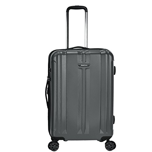 Traveler's Choice La Serena Polycarbonate Hardside Expandable Spinner Luggage, Gray, Checked-Medium 26-Inch