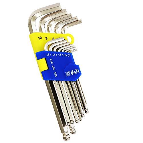S&R Innensechskantschlüssel Satz HX mit Kugelkopf, LANG, 13-tlg, 1,27 bis 10 mm, Cr-V-Stahl, gehärtet, in Kunststoffclip