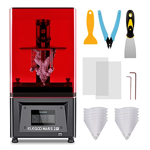 ELEGOO Impresora 3D MSLA Mars 2 Pro Impresora 3D de LCD 2K Pantalla Monocromática de 6 Pulgadas Impresora 3D Anti-ultravioleta con Purificador de Aire Impresora 3D de Resina Impresión Rápida