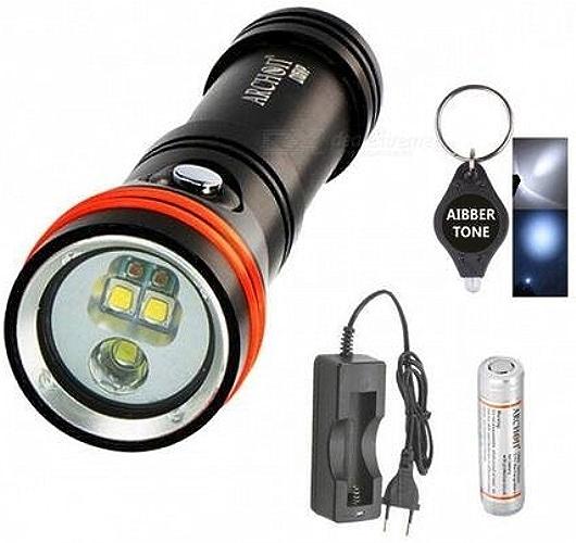 Archon D15vp Blanc Rouge CREE LED 1300lumens 110 30° 100m plongée lampe torche vidéo spot avec batterie + chargeur