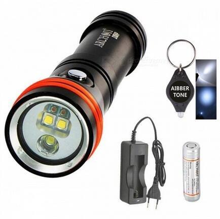 Archon D15vp Blanc Rouge CREE LED 1300 lumens 110/30 ° 100 m plongée lampe torche vidéo spot avec batterie + chargeur