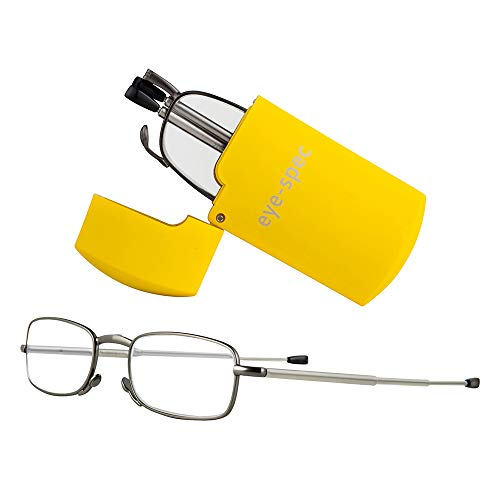 Zusammenklappbare Lesebrille mit gelbem Etui im Taschenformat |Kompaktes, klappbares Design für Herren verfügbar in 8 Farben und 9 Sehstärken eye-spec (1,0)