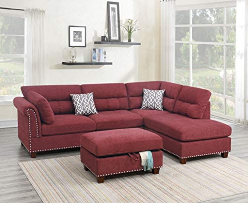 Best Poundex Sectional, Paprika Red