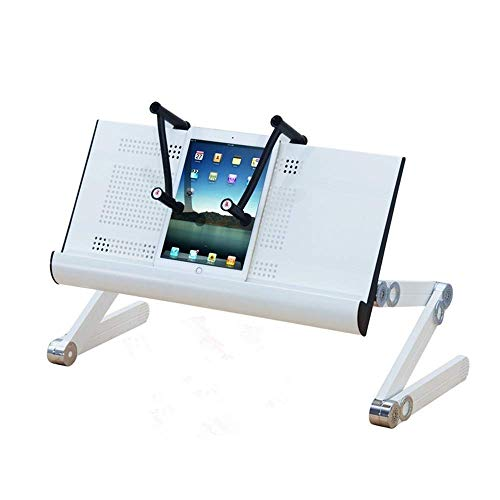 Adjustable Laptop Stand, Aluminum Laptop Desk/Table, Office Laptop Riser Lightweight Portable Bed/Sofa (Color : White)