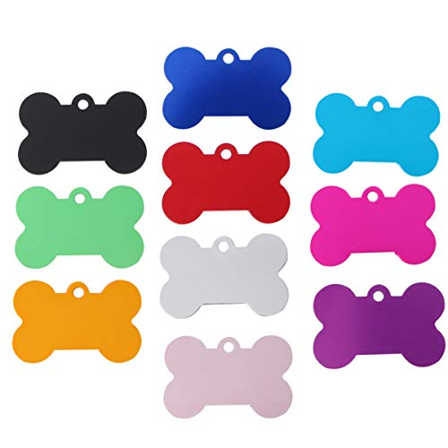 UEETEK 10 Pcs 38MM Pet ID Tag Bone Shape Double Sided Dog Cat Pet Name Phone Number ID Tag