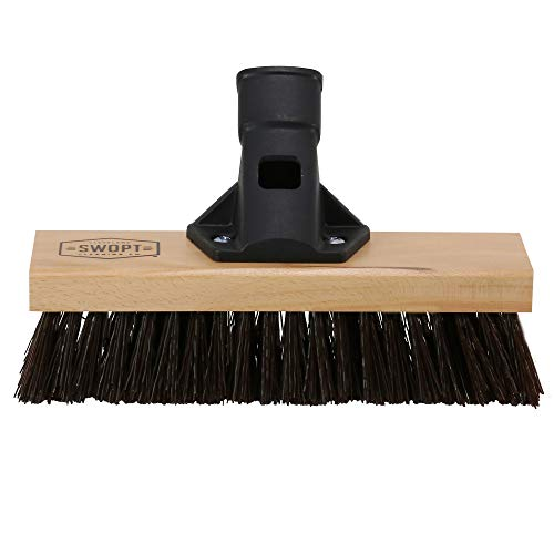 "SWOPT 10"" Premium Rough Surface Deck Brush Head – Deck Brush for Heavy-Duty Scrubbing Rough and Textured Surfaces – Interchangeable with Other SWOPT Products for More Efficient Cleaning and Storage, Head Only, Handle Sold Separately, 5131C6"