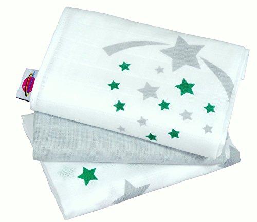 Babymajawelt® Mulltuch 70x70 cm 3-pack (Spuugdoeken katoenen luiers stoffen luiers sterren wolken) Stars grijs