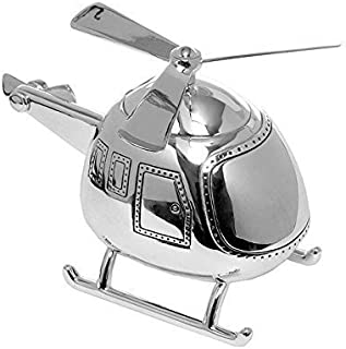 NEW SILVER PLATED HELICOPTER MONEY BOX/PIGGY BANK/NAMING CHRISTENING GIFT