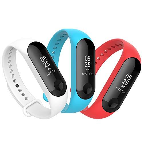 Anjoo [3-Unidades Correa Compatible para Xiaomi Mi Band 3/ Mi Smart Band 4, Correa Banda de Deportes Silicona Reemplazo Bracelet Compatible con Xiaomi Mi Band 4/ Mi Band 3 (Blanco/Rojo/Azul)