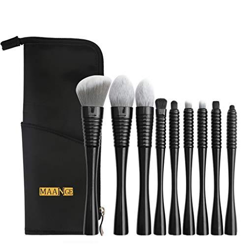 EUCoo Haute qualité Pinceaux Maquillage Professionnel 9pcs Trousse de toilette Fibres,Synthétiques Souples pour Tous Types de Maquillage (black)