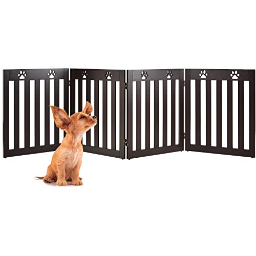 Happaws Freestanding Dog Gate, 4 Panels 24 inch Step Over Pet Fence, Convertible Puppy Pen Enclosure, Folding Puppy Playpen, Extra Wide Indoor Pet Barrier for Hall, Patio, Doorway, Stairs