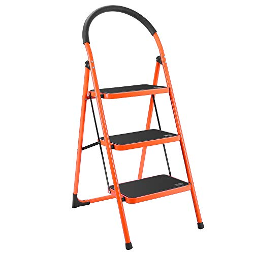 Luisladders Folding 3 Step Ladder Portable Space Saving Lightweight Ladders with Sturdy Steel and Anti-Slip Wide Pedal, Multi-Use for Household, Market, Office (330 Lb)