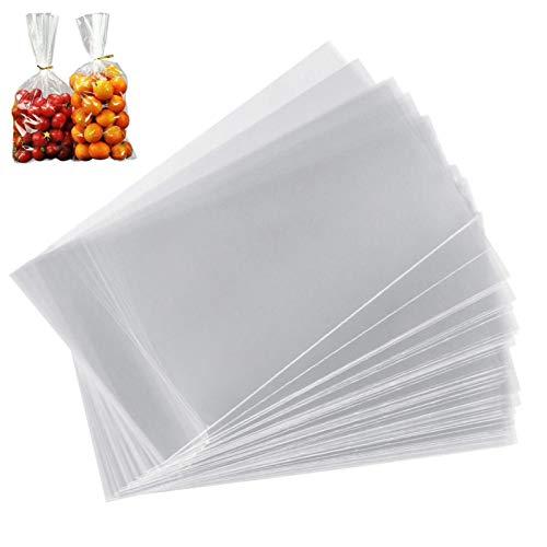 Keilafu bolsas de magdalenas, bolsas celofan, Bolsas de tratamiento de celofán transparente de 100 piezas con lazos retorcidos, bolsas de tratamiento con cierre de 20 x 30 cm