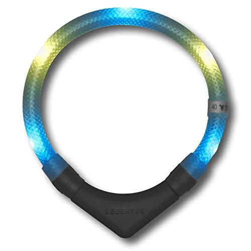 LEUCHTIE® Leuchthalsband Plus eisblau-vanille Größe 55 I LED-Halsband für Hunde I 100 h Leuchtdauer I wasserdicht I enorm hell