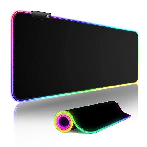 RGB Tappetino per il Mouse Gioco Tappeto di Mouse per Gamers Extra Grande Tappeto Mouse e Tastiera Gaming Mousepad Antiscivolo Impermeabile per Computer, Laptop - 800x300mm(12Modalità Luce)