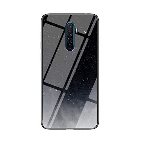 BRAND SET Carcasa para OPPO Realme X2 Pro Funda Protectora Transparente con Patrón Luna Cielo Estrellado Cubierta Trasera de Vidrio Templado + Borde de Silicona Case Antigolpes-XKYY