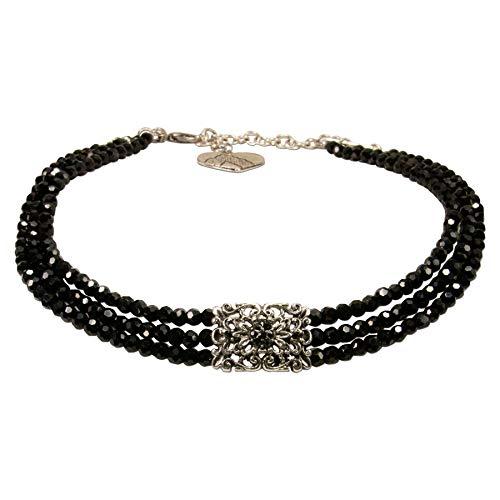 Alpenflüstern Trachten-Perlen-Kropfkette Edda - nostalgische Trachtenkette, eleganter Damen-Trachtenschmuck, Dirndlkette schwarz DHK217