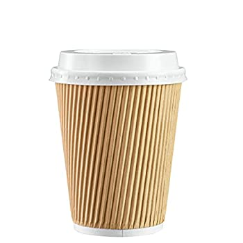 [50 Sets - 12 oz.] Insulated Ripple Paper Hot Coffee Cups With Lids