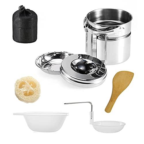 InnerSetting Juego de utensilios de cocina al aire libre Olla de acero Pan Cocina Vajilla Camping Picnic Kits