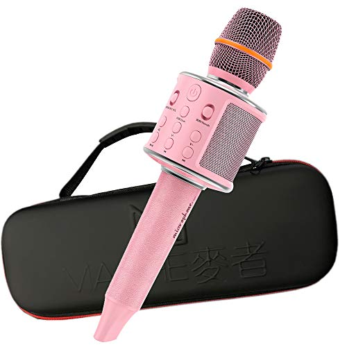 Wireless Bluetooth Karaoke Microphone, Leather Portable Handheld Karaoke Mic Speaker Machine with Duet Vocal Remover Function Home Party for iPhone/Android/PC/TV (Pink)