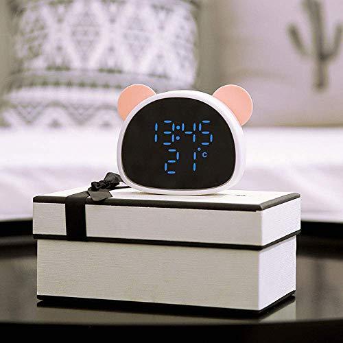 YYM Reloj Despertador LED Digital, Panda Wake Up Light Control de Voz Recargable Grabación Espejo Inteligente LED Digital con Alarma de Tiempo Mesa de visualización de Temperatura Espejo portátil