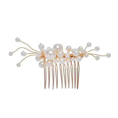Tocado nupcial conjunto de peine para el cabello hecho a mano peine de inserción de perlas europeas y americanas joyería de moda