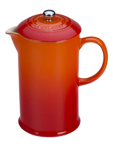 Le Creuset PG8200-102 Stoneware French Press Coffee Maker, 27 oz, Flame