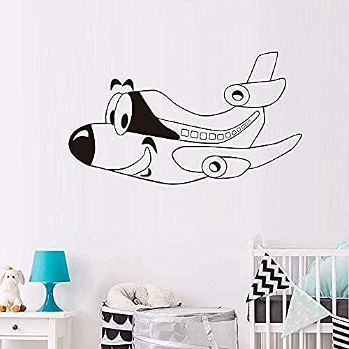 Pegatinas De Pared De Avión De Dibujos Animados Bonitos Decoración Del Hogar Pvc Extraíble Diseño Púrpura Decoración Del Hogar Papel Tapiz Mural 59X33Cm