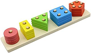 اشكال هندسية خشبية تعليمية كبيرة للاطفال في مرحلة ما قبل المدرسة للفرز والتعرف على الالوان والتكديس من موترينت