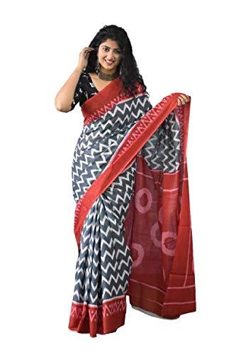 Geeta Handicrafts Women's Ikat Hand Block Print Jaipuri Cotton Mulmul Saree with Blouse Piece – Grey