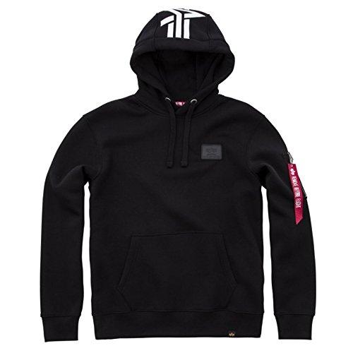 Alpha Back Print Hoody kuscheliger Kapuzensweater mit Bauchtasche und Multifunktionstasche mit Siebdruck, Größe:L, Farbe:black