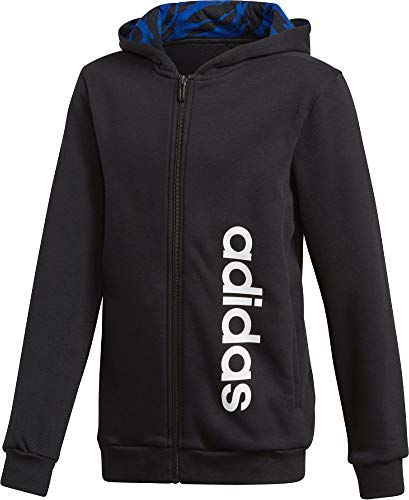 adidas Jungen Linear Full Zip Hooded Kapuzen-Jacke, Black/Collegiate Royal/White, 116