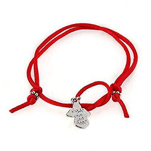 Fltaheroo Pulsera de Plata tibetana de Cordon Rojo de del Angel de Guarda Chic