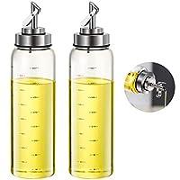 fari bottiglia olio d'oliva e aceto, bottiglie per olio ad apertura automatica e sigillante da 500 ml con beccuccio in acciaio inossidabile (2)