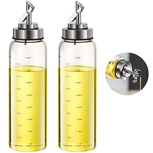 FARI Botella de aceite de oliva y vinagre, 500 ml Botellas de aceite con cierre y apertura automática con boquilla de acero inoxidable (2)