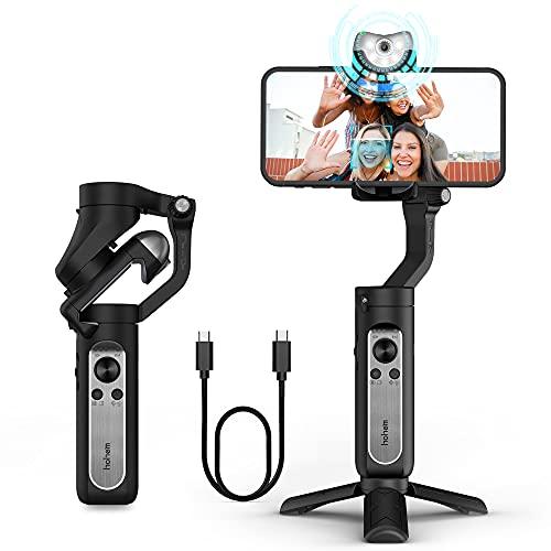 hohem Handgeführter Smartphone-Gimbal mit Stabilisierung,iSteady V2 Gimbal Smartphone,3 Achsen Gimbal Handy stabilisator mit KI Visuelle Verfolgung,Vlog-Stabilisierung,für YouTube TikTok