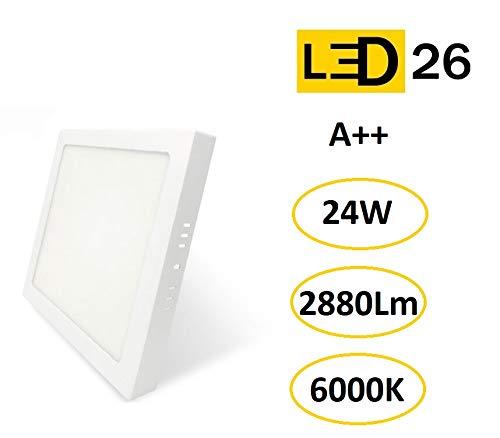 Plafón de Techo LED 24W 2880lm Blanco frío 6000k Cuadrado Superficie Panel LED Iluminacion Para Sala de Estar,Comedor,Dormitorio,Oficina,Tienda Comecial LED26 [Clase de eficiencia energética A++]