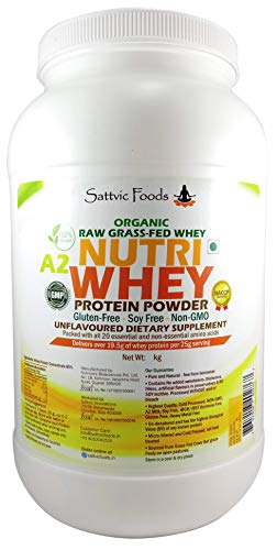Sattvic Foods Unflavoured Whey Protein Natural Unadulterated (1 kg/jar)