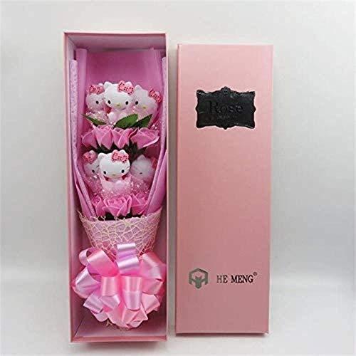 Lovely Cats Cartoon Doll met Rozen Boeket Soap Gift Box Kerstmis Home Decoration Valentines Gift met Doos