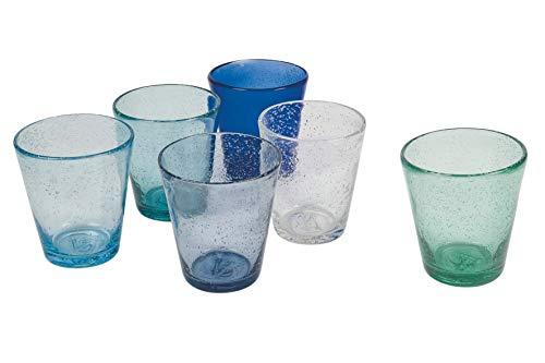 Villa d'Este Home Tivoli 5907746 Cancun/Marea Set 6 Bicchieri Acqua 330 ml in Pasta di Vetro soffiato, 330 milliliters