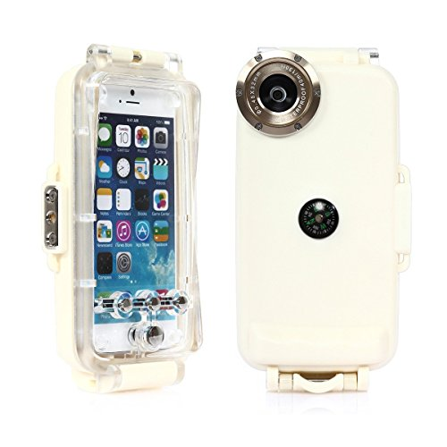 iphone 6/6s 4.7' CoastaCloud Funda Estuche carcasa protectora impermeable sumergible hasta 40 metros para iphone 6/6s 4.7' pulgadas CAMARA DIGITAL IDEAL PARA TOMAR FOTOS bajo agua con indicador de temperatura-Blanco