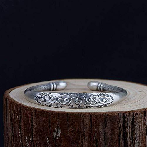 ZLININ Y-longhair S925 Damen-Armband aus Silber, offenes Relief, 3D-Wolke, sechs Wörter, Mantra, kreatives Schnitzen, Temperament, Persönlichkeit, Geschenk, chinesischer Klassiker