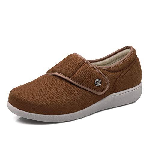 Lichtgewicht verstelbare bejaarde pantoffel, wandelschoenen van middelbare leeftijd, met klittenband verstelbare moederschoenen - bruin_UK3.5, traagschuim huisschoenen voor atritis