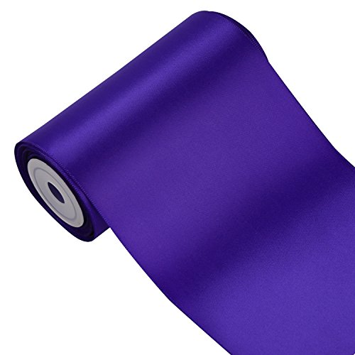LaRibbons 4 inch Wide Solid Color Double Face Satin Ribbon Great for Chair Sash- 5 Yard/Spool (Purple)