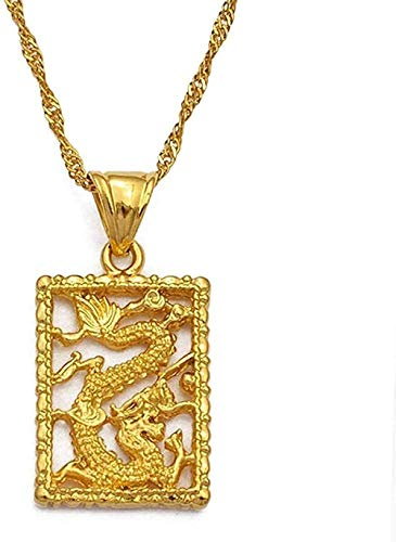 WSBDZYR Co.,ltd Necklace Fashion Auspicious Dragon Pendant Necklace for Women and Girls Gold Color Jewelry Chinese Style Jewelry